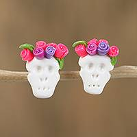 Porcelain button earrings, 'Sweet Skulls in Fuchsia' - Fuchsia Rose Catrina Cold Porcelain Button Earrings
