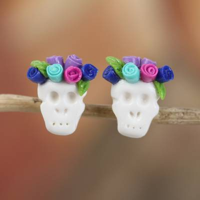 Porcelain button earrings, 'Sweet Skulls in Blue' - Blue and Fuchsia Rose Catrina Cold Porcelain Button Earrings