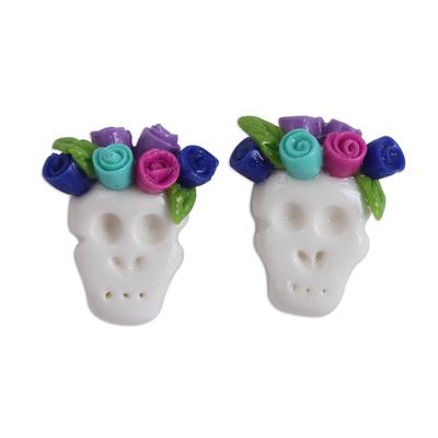 Blue and Fuchsia Rose Catrina Cold Porcelain Button Earrings