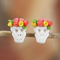 Cold porcelain button earrings, 'Sweet Skulls in Orange' - Orange Rose Catrina Cold Porcelain Button Earrings
