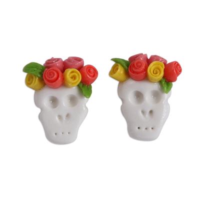 Orange Rose Catrina Cold Porcelain Button Earrings