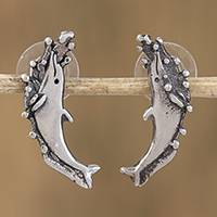 Sterling silver drop earrings, 'Sea Frolic' - Handcrafted Sterling Silver Dolphins At Play Drop Earrings