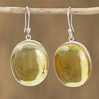 Amber dangle earrings, 'Golden Miracle' - Handmade Natural Amber Dangle Earrings from Mexico