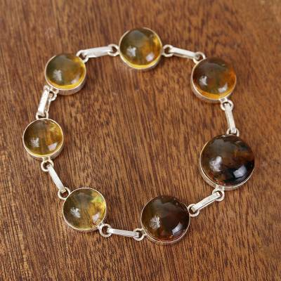 Amber link bracelet, 'Moonlight Gold' - Natural Amber Link Bracelet Crafted in Mexico