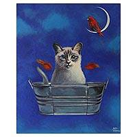 'The Explorer' - Signed Surrealist Painting of a Cat in a Bucket from Mexico