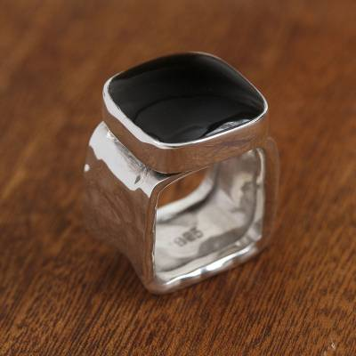 Obsidian cocktail ring, 'Nocturnal Fashion' - Obsidian Cocktail Ring with a Hammered Band from Mexico