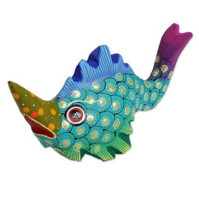 Wood alebrije figurine, 'Swordfish Mystery' - Wood Alebrije Swordfish Figurine from Mexico