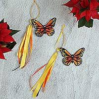 Wood ornaments, 'Wind Sweeties' (pair) - Hand-Painted Wood Monarch Butterfly Ornaments (Pair)