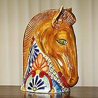 Ceramic figurine, 'Garden Horse' - Brown with Talavera Style Accent Horse Head Ceramic Figurine