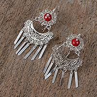 Sterling silver filigree chandelier earrings,