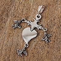 Sterling silver pendant, 'Heart Miracle' - Religious Sterling Silver Cross Pendant from Mexico