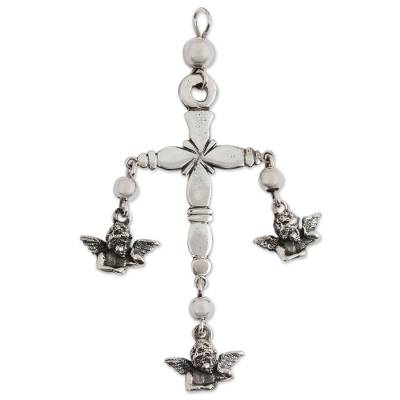 Sterling Silver Angel Cross Pendant from Mexico
