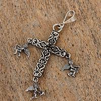 Sterling silver pendant, 'Musical Angels' - Music-Themed Sterling Silver Cross Pendant from Mexico