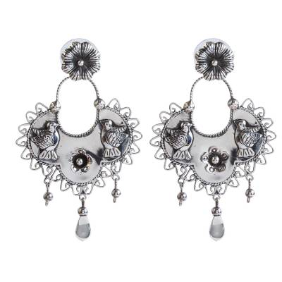 Bird Pattern Taxco Sterling Silver Dangle Earrings