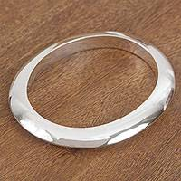 Sterling silver bangle bracelet, 'Mirror of My Heart' - Modern Sterling Silver Cuff Bracelet from Bali