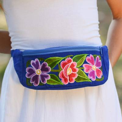Cotton waist bag, 'Garden on the Go' - Handwoven Blue with Pink Floral Motif Cotton Belt Bag