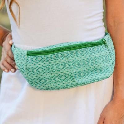 Cotton waist bag, 'Swift Passage' - Handwoven Green and Teal Geometric Motif Cotton Belt Bag