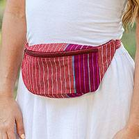 Cotton waist bag, 'Lively Journey' - Handwoven Red and White Striped Cotton Belt Bag from Mexico