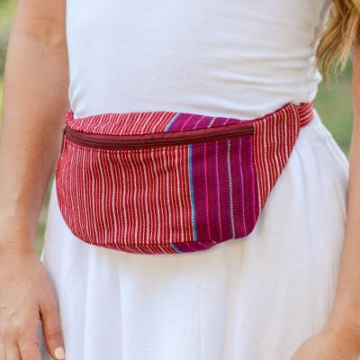 9cd9291d2c01d Handwoven Red and White Striped Cotton Belt Bag from Mexico, 'Lively  Journey'