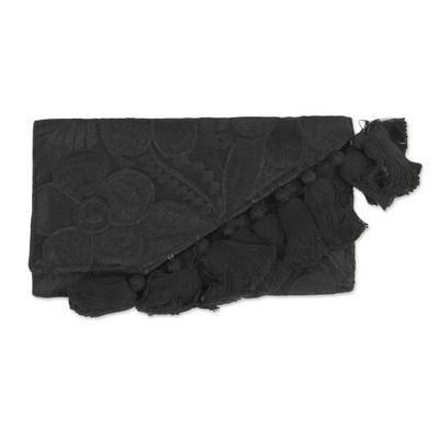 Black Handwoven Cotton Floral Motif Clutch Wallet Combo