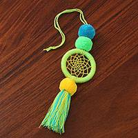 Cotton dream catcher, 'Dream Net' - Cotton Thread Dream Catcher with Pompoms and Tassel