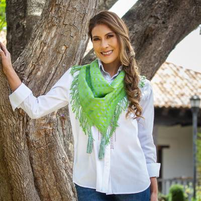 Cotton scarf, 'Subtle Checkers in Green' - Shades of Green Handwoven Fringed Scarf with Tassels