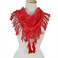 Cotton scarf, 'Subtle Checkers in Red' - Shades of Red Handwoven Fringed Scarf with Tassels