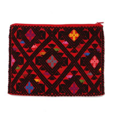 Cotton Cosmetic Bag in Crimson and Black from Mexico