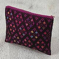 Cotton cosmetic bag, 'Nocturnal Dreams' - Cotton Cosmetic Bag in Amethyst and Black from Mexico