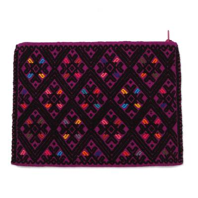 Cotton Cosmetic Bag in Amethyst and Black from Mexico