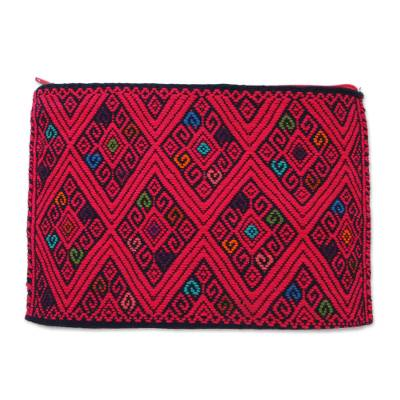 Geometric Cotton Cosmetic Bag in Cherry from Mexico