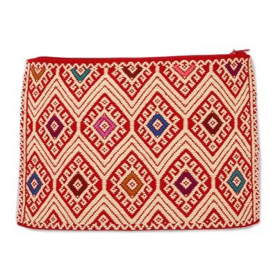 Geometric Cotton Cosmetic Bag in Wheat from Mexico