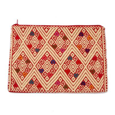Geometric Cotton Cosmetic Bag in Buff from Mexico