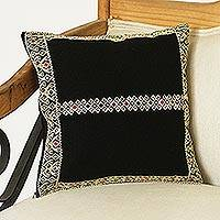 Cotton cushion cover, 'Buff Patterns' - Geometric Cotton Cushion Cover in Black and Buff