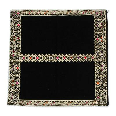 Geometric Cotton Cushion Cover in Black and Buff