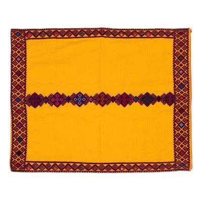 Geometric Cotton Cushion Cover in Mango from Mexico