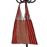 Cotton tote bag, 'Mod Stripes in Barn Red' - Handwoven 100% Cotton Barn Red and Beige Striped Tote Bag