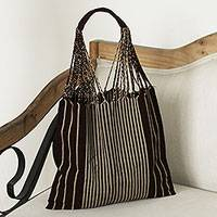 Cotton tote, 'Mod Stripes in Mahogany' - Handwoven 100% Cotton Mahogany and Beige Striped Tote Bag