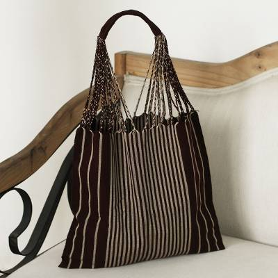 e292c8be0 Cotton tote, 'Mod Stripes in Mahogany' - Handwoven 100% Cotton Mahogany and