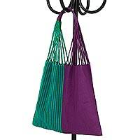 Cotton tote bag, 'Jester's Spirit' - Handwoven Cotton Blue-Green and Purple Color Block Tote Bag