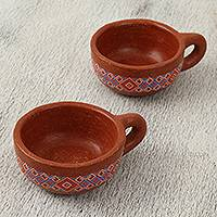 Ceramic cups, 'Superb Sip' (pair) - Brown with Blue and Pink Geometric Motif Ceramic Cups (Pair)