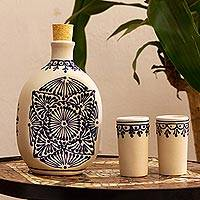 Ceramic tequila decanter set, 'Traditional Spirit' (set of 3) - Beige Talavera Style Tequila Decanter and Glasses (Set of 3)