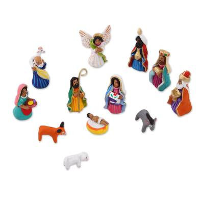 Handcrafted Colorful Ceramic Nativity Scene (12 pieces)