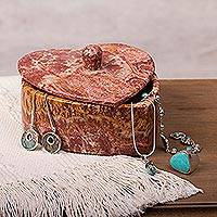 Marble decorative box, 'Heart of the Earth' - Heart-Shaped Natural Marble Decorative Box from Mexico