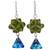 Swarovski crystal dangle earrings, 'Verdant Charm' - Green and Blue Swarovski Crystal Dangle Earrings from Mexico (image 2a) thumbail