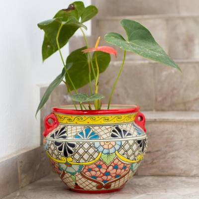 Ceramic flower pot, 'Sun's Essence' - Talavera Style Red Rim Colorful Floral Ceramic Flowerpot Urn
