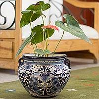 Ceramic flower pot, 'Garden Blues' - Talavera Style Blue Colorful Floral Ceramic Flowerpot Urn