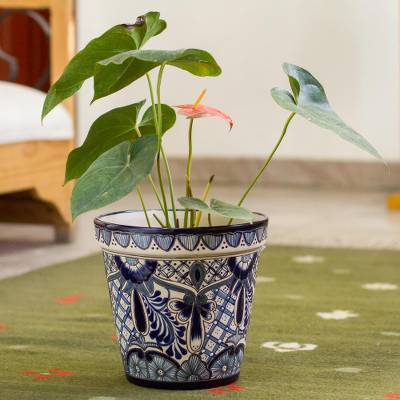 Ceramic flower pot, 'Cool Breeze Garden' (9 inch) - Talavera Style Blue Floral Motif Ceramic Flower Pot (9 inch)