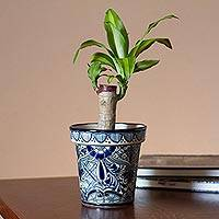 Ceramic flower pot, 'Cool Breeze Garden' (6.5 inch) - Talavera Style Blue Floral Ceramic Flower Pot (6.5 inch)