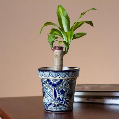 Ceramic flower pot, 'Cool Breeze Garden' (6.5 inch) - Talavera Style Blue Floral Ceramic Flower Pot (6.5 inch)